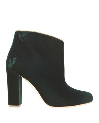 Eula Green Velvet Booties, EMERALD, hi-res