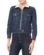 Embroidered Faux Shearling Jean Jacket, DENIM, hi-res