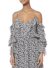 Susanna Cold Shoulder Mini Dress, PRINT, hi-res