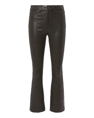 Black Crop Flare Leather Pants, BLACK, hi-res