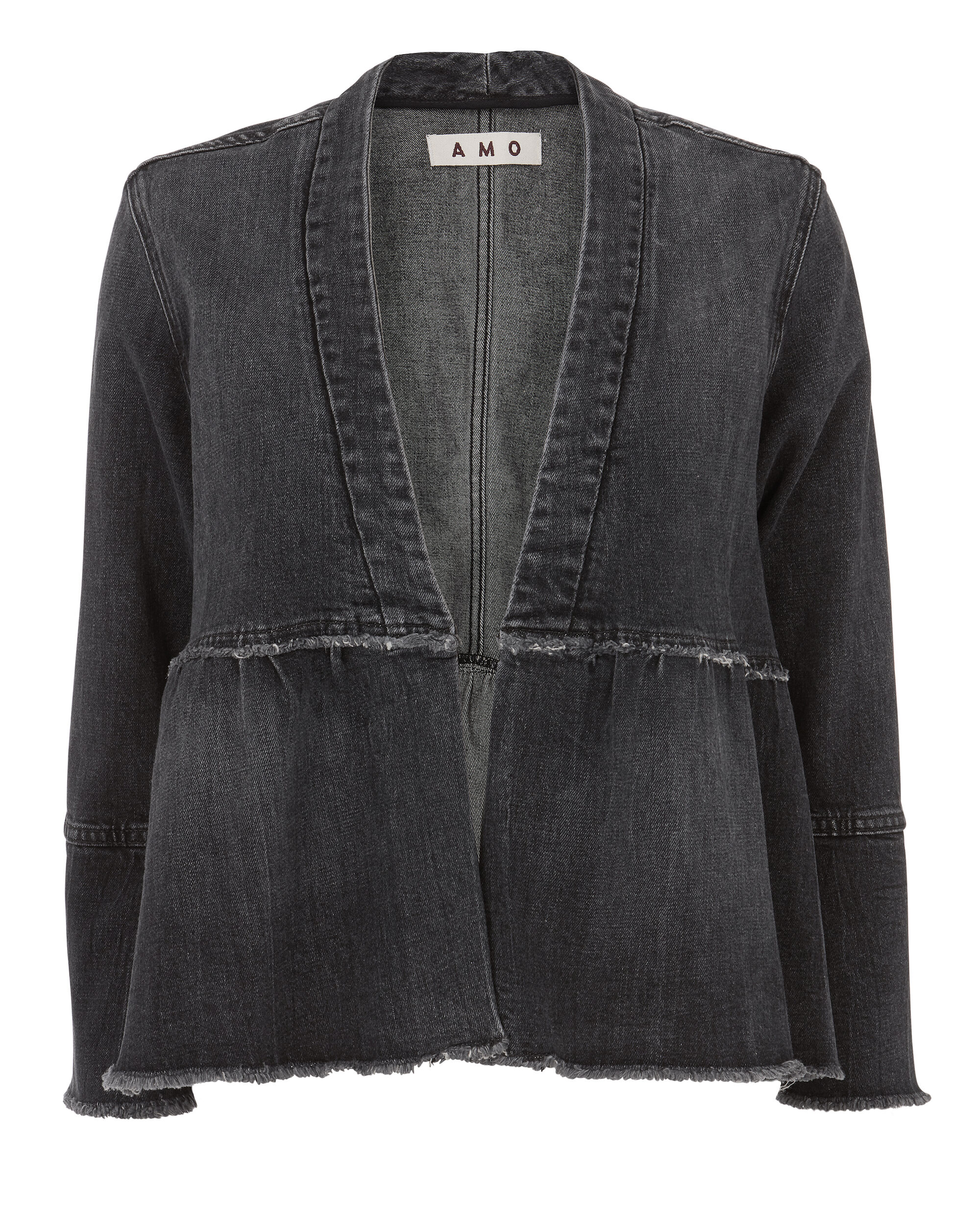 Flounced Denim Jacket, DENIM, hi-res
