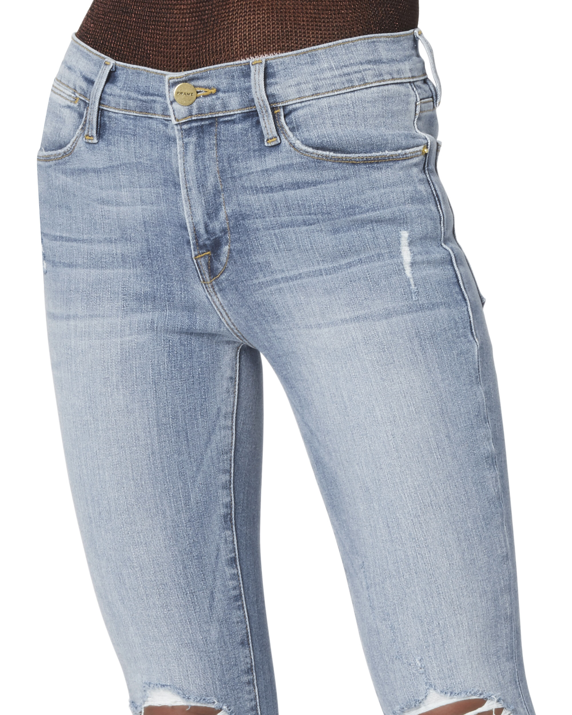 Le High Distressed Crop Skinny Jeans, DENIM, hi-res