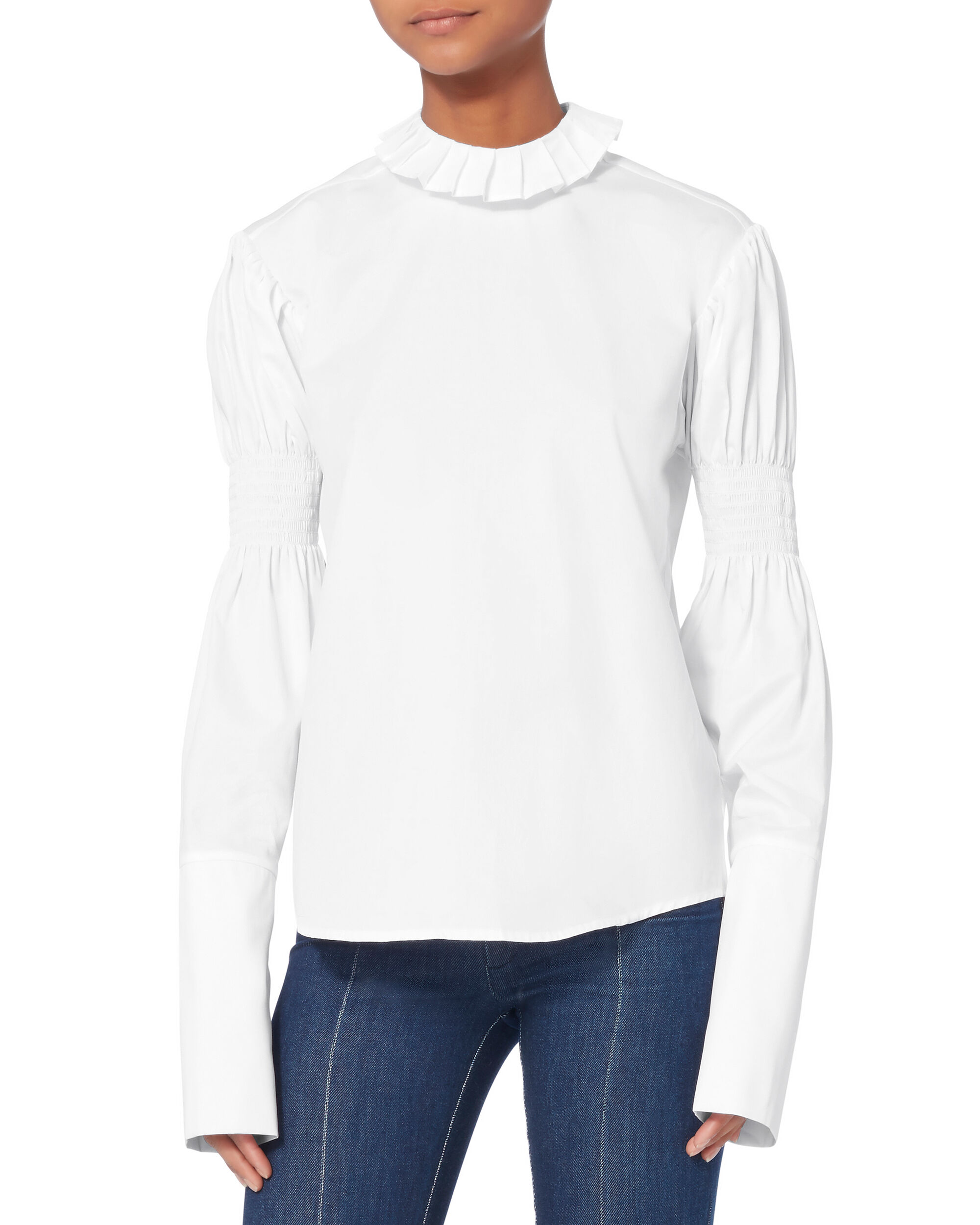 Brave Ruffle High Neck Shirt, WHITE, hi-res