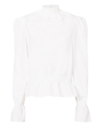 Smocked Detail Poplin Blouse, WHITE, hi-res