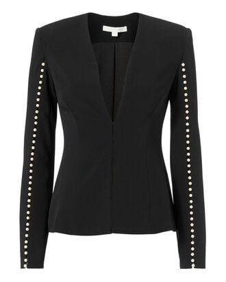 Pearl Studded Jacket, BLACK, hi-res