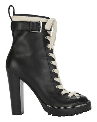 Lara White Lace-Up Combat Booties, BLACK, hi-res
