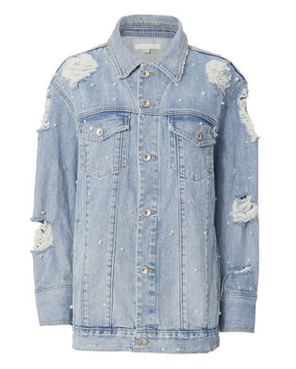 Oversized Studded Denim Jacket, DENIM, hi-res