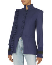 Know Your Power Ruffle Blazer, BLUE-MED, hi-res