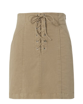 Kylie Khaki Lace-up Mini Skirt, BEIGE, hi-res