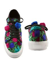 Embroidered Lace-Up Sneakers, BLACK, hi-res