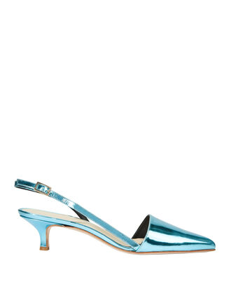 Simon Metallic Blue Slingback Kitten Heels, BLUE-MED, hi-res