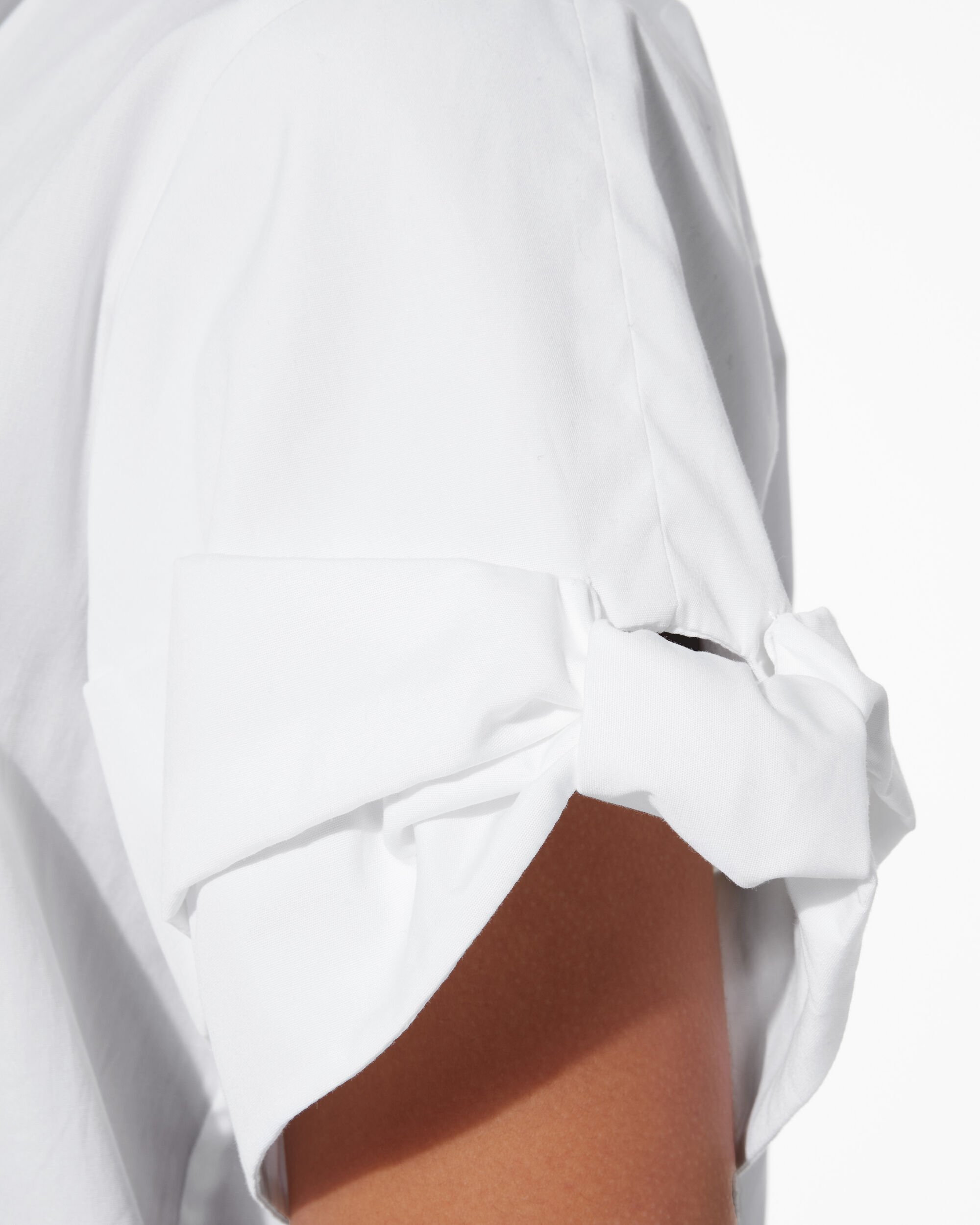 Bow Sleeve Poplin Top, WHITE, hi-res
