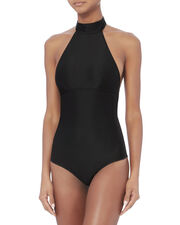 Heather Choker One Piece Swimsuit, BLACK, hi-res