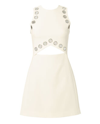 Mirror-Embellished Cutout Mini Dress, WHITE, hi-res