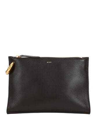 Joni Top Zip Leather Clutch, BLACK, hi-res