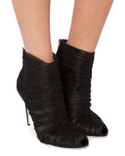 Ruched Tulle Peep-Toe Booties, BLACK, hi-res