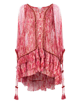 Bety Silk Poncho Dress, PRINT, hi-res