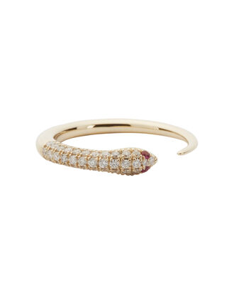 Ruby Accent Diamond Snake Ring, GOLD, hi-res
