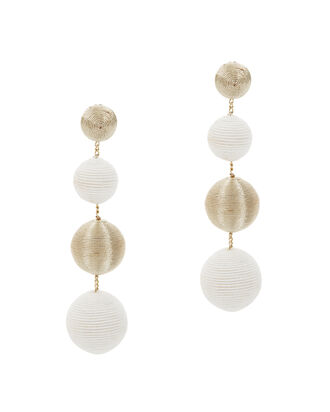 White And Gold Gumball Drop Earrings, WHITE, hi-res
