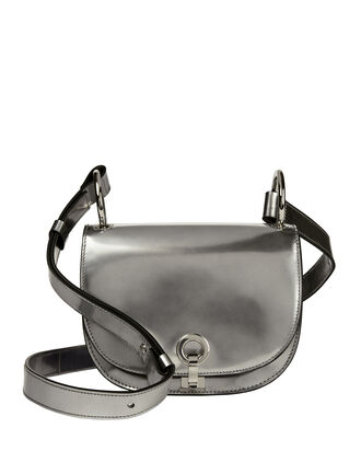 Bandoleer Silver Leather Shoulder Bag, METALLIC, hi-res