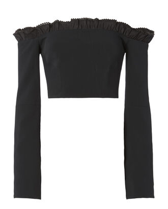 Ruffled Off Shoulder Bustier Top, BLACK, hi-res