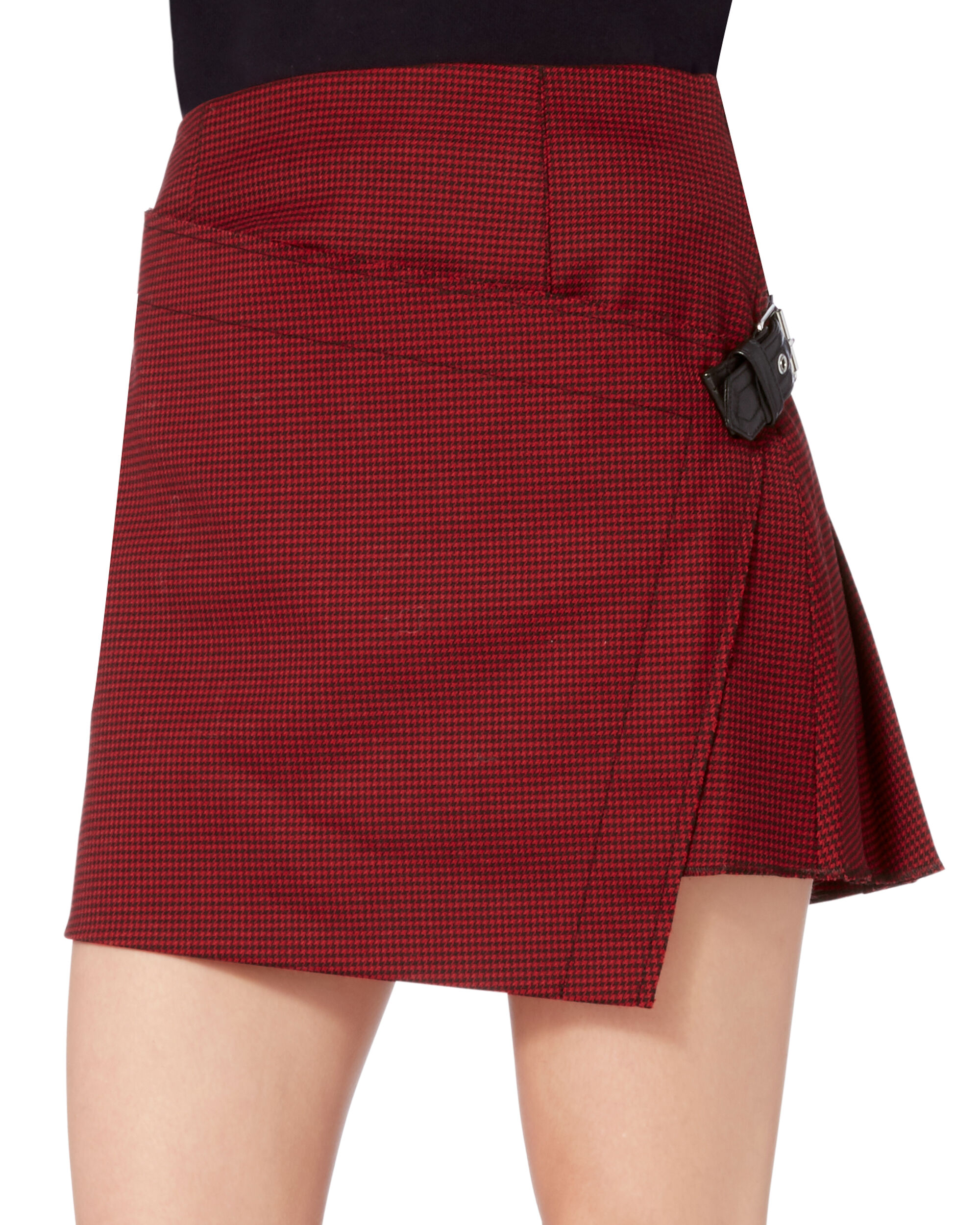 Houndstooth Pleated Mini Skirt, , hi-res