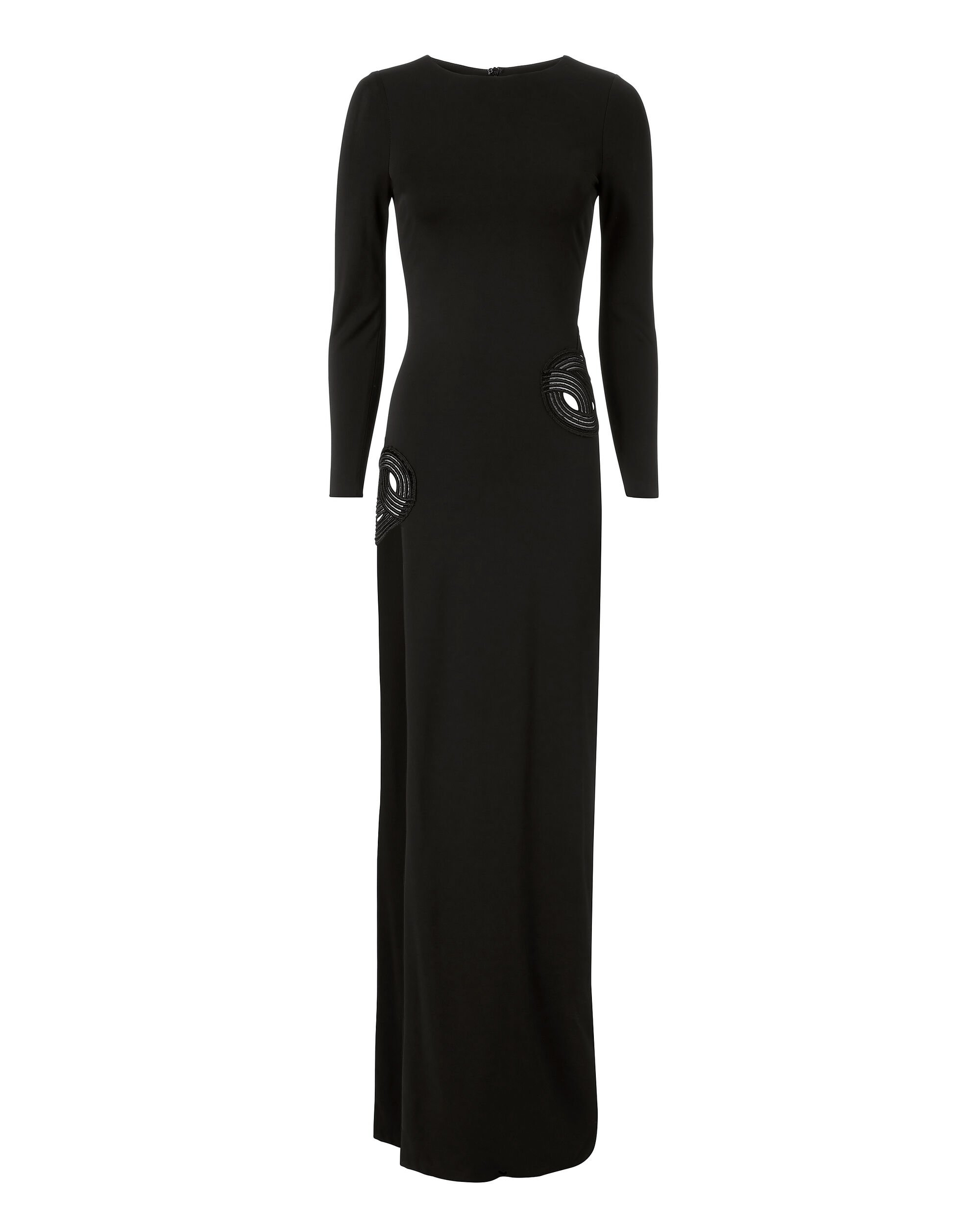 Asymmetric Embroidered Black Gown, BLACK, hi-res
