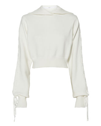 Hooded Ribbon Knit Sweatshirt, WHITE, hi-res