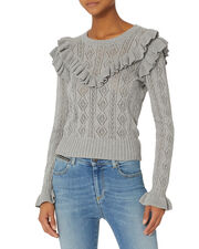 Natalie Ruffle Sweater, GREY, hi-res