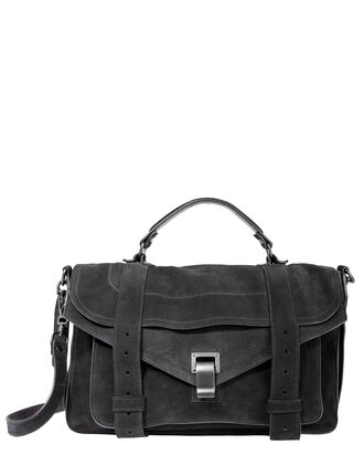 PS1 Suede Medium Black Satchel, BLACK, hi-res
