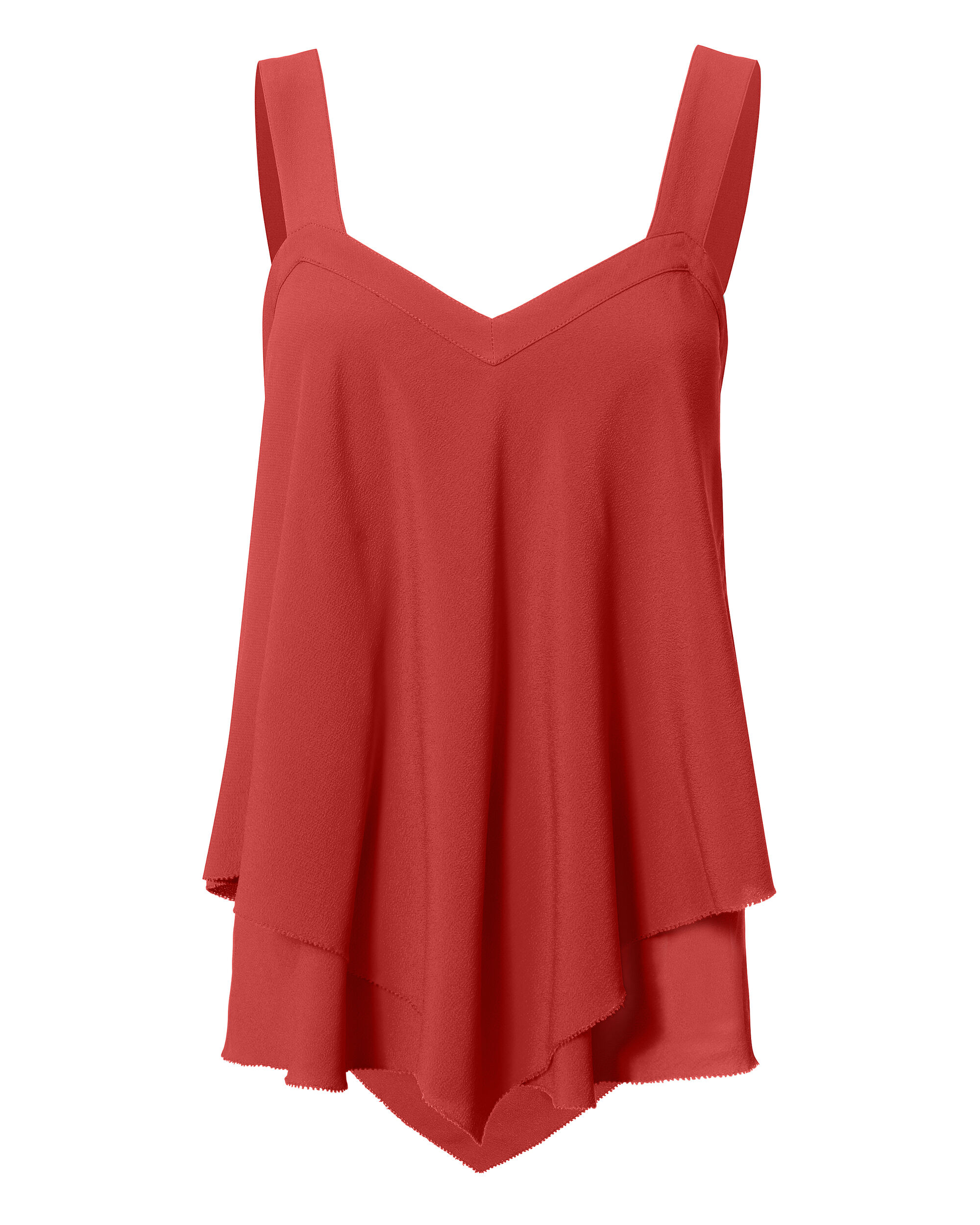 Poppy Silk Tiered Blouse, RED, hi-res