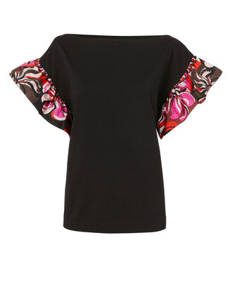 Printed Ruffle Black Shirt, BLACK, hi-res