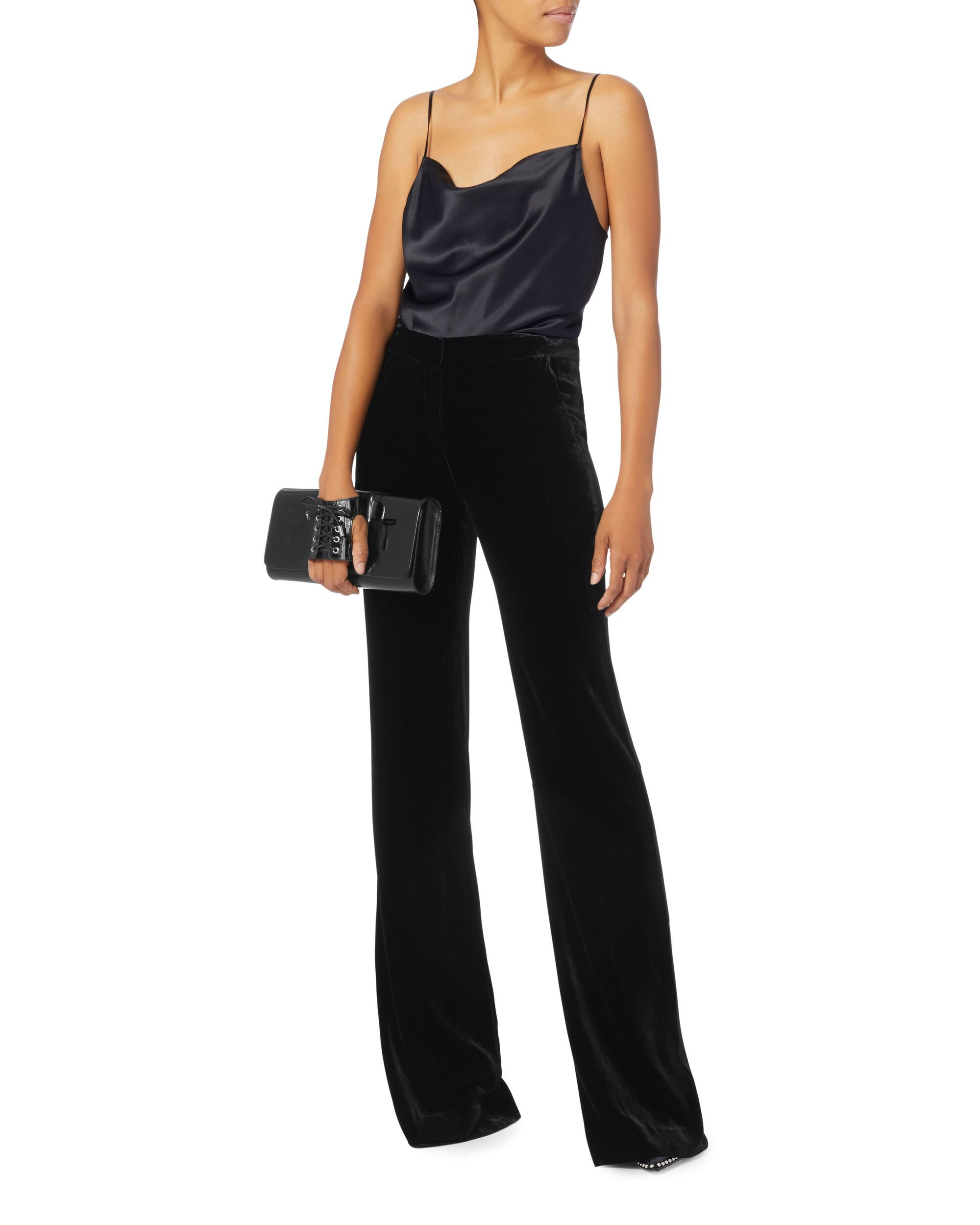 Ramsey Wide Leg Tuxedo Velvet Pants, BLACK, hi-res