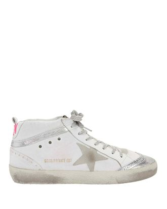 Pink Back Leather High-Top Sneakers, WHITE, hi-res