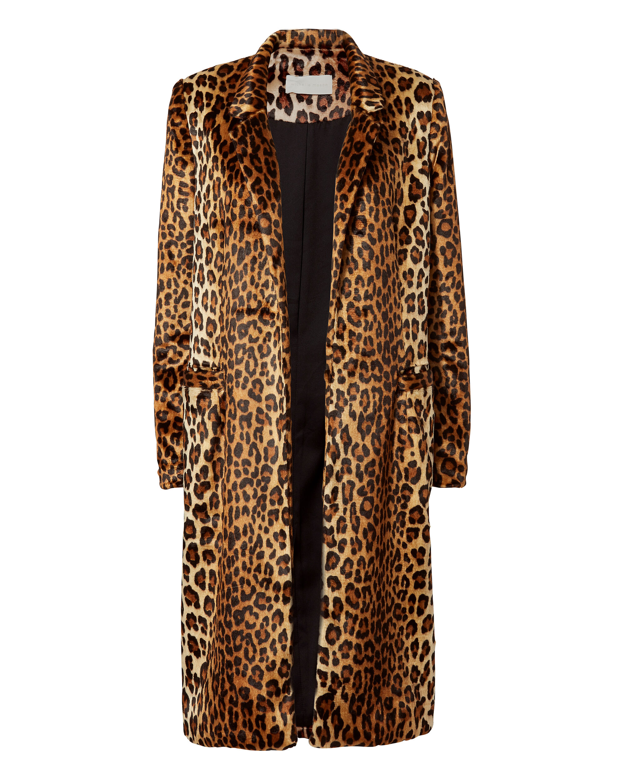 Faux Fur Leopard Print Coat, PRI-ANIMAL, hi-res