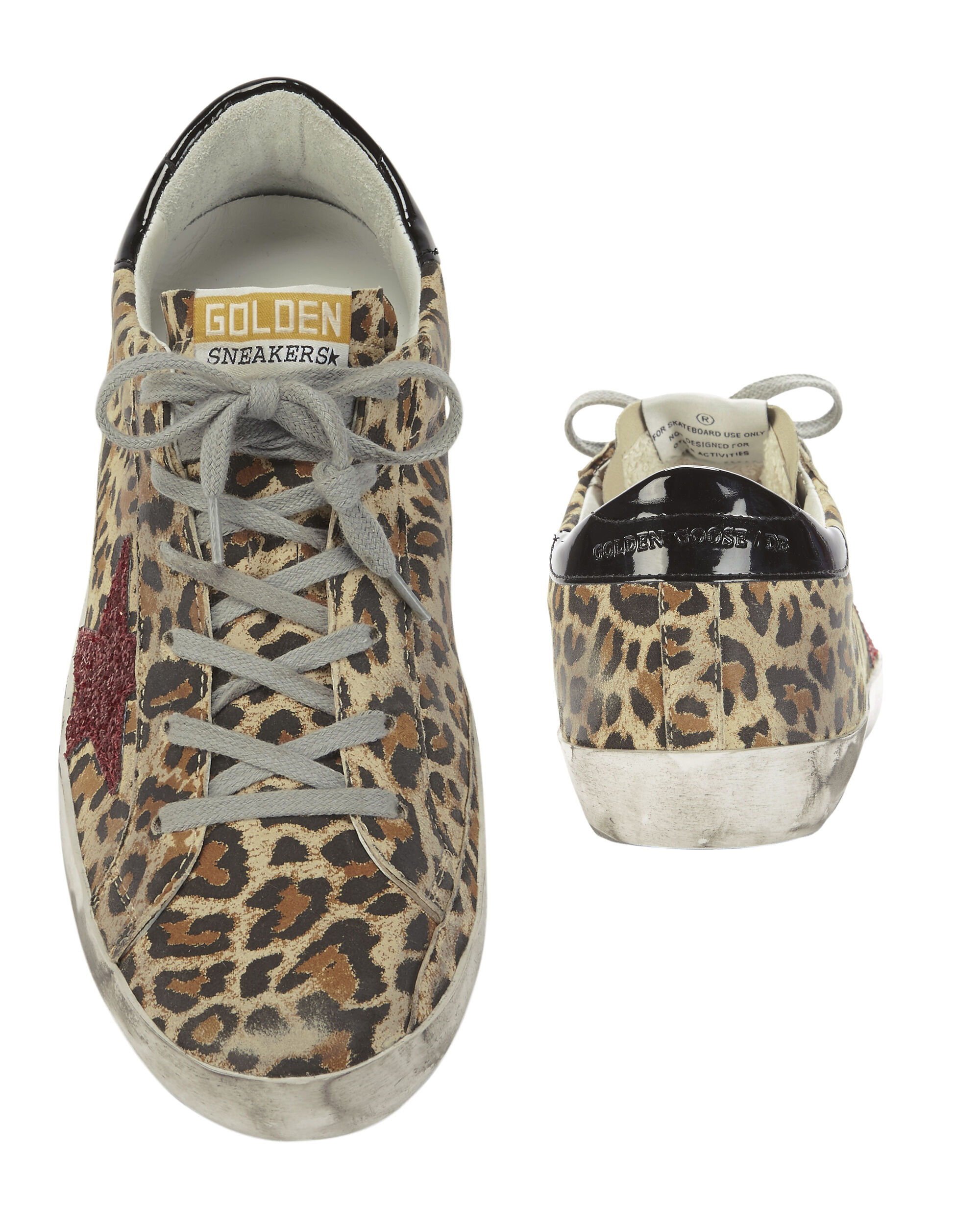 Superstar Leopard Red Glitter Sneakers, PRINT, hi-res