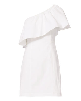 Evan One Shoulder Dress, WHITE, hi-res
