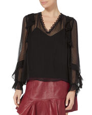 Monroe Lace Top, BLACK, hi-res