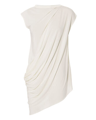 Asymmetric Cap Sleeve Top, WHITE, hi-res