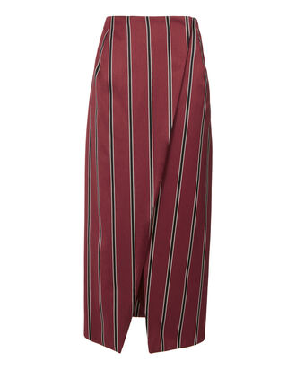 Apolline Stripe Wrap Skirt, RED, hi-res