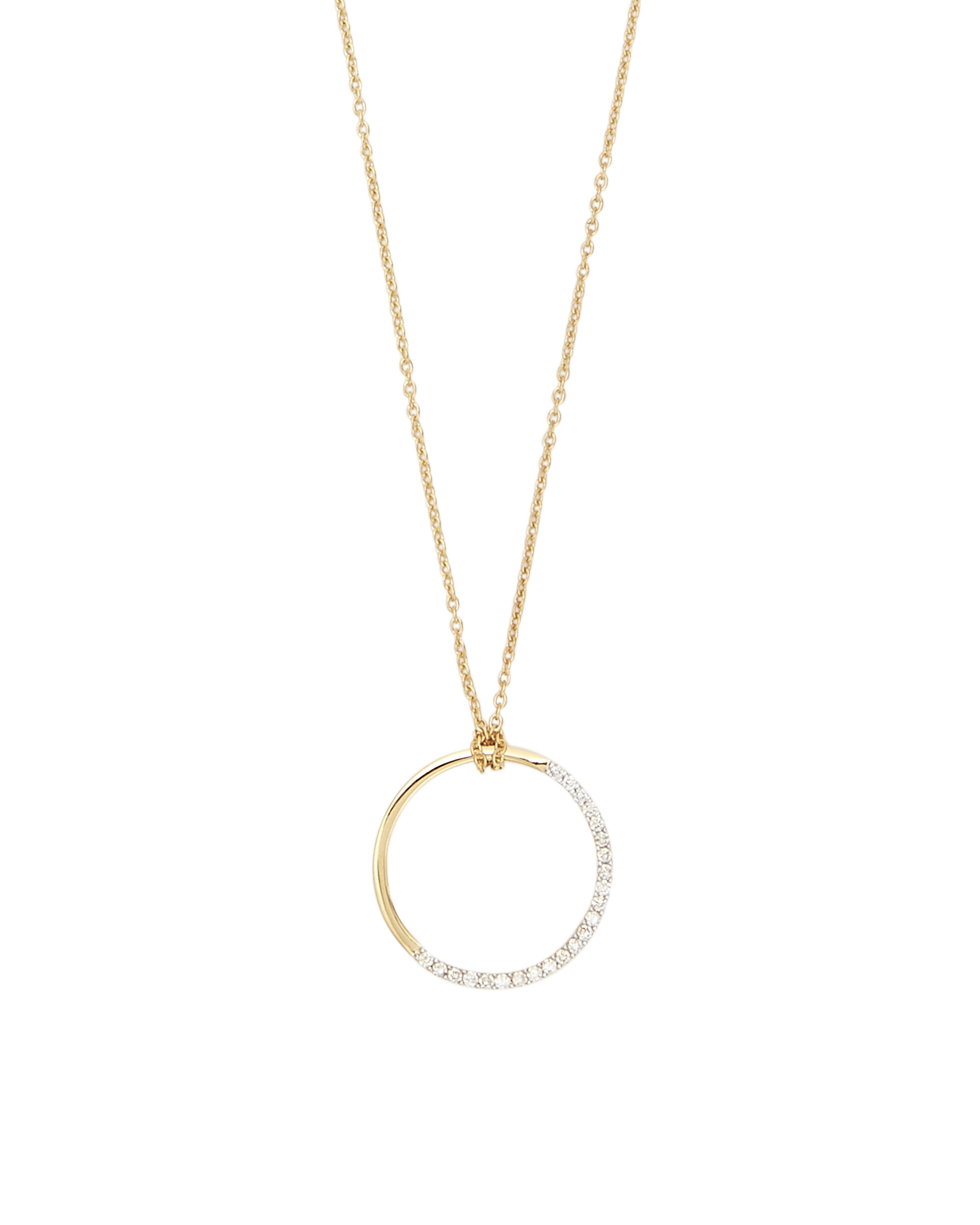 Small Half Moon Diamond Necklace, METALLIC, hi-res