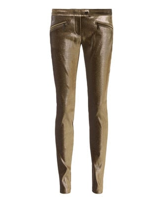 Gold Jersey Lurex Skinny Pants, GOLD, hi-res