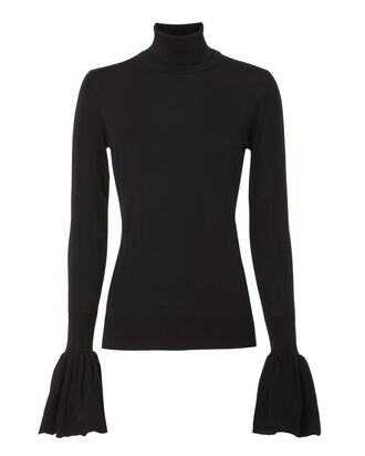 Bell Sleeve Turtleneck Sweater, BLACK, hi-res