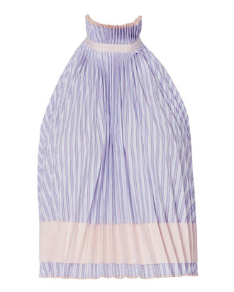 Backless Pleated Trapeze Top, STRIPE, hi-res