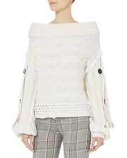 Dorian Off Shoulder Sweater, WHITE, hi-res