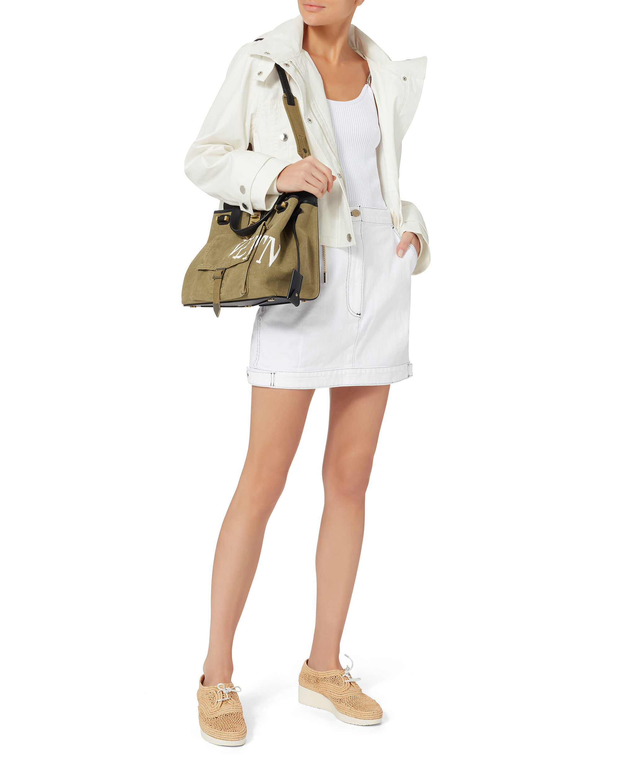 Hooded Cropped Parka, WHITE, hi-res