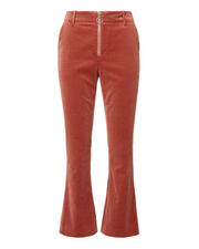 Spice Ring Pull Velvet Pants, RED, hi-res