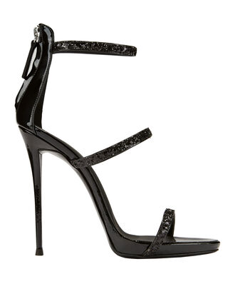 Coline Strappy Glitter Sandals, BLACK, hi-res