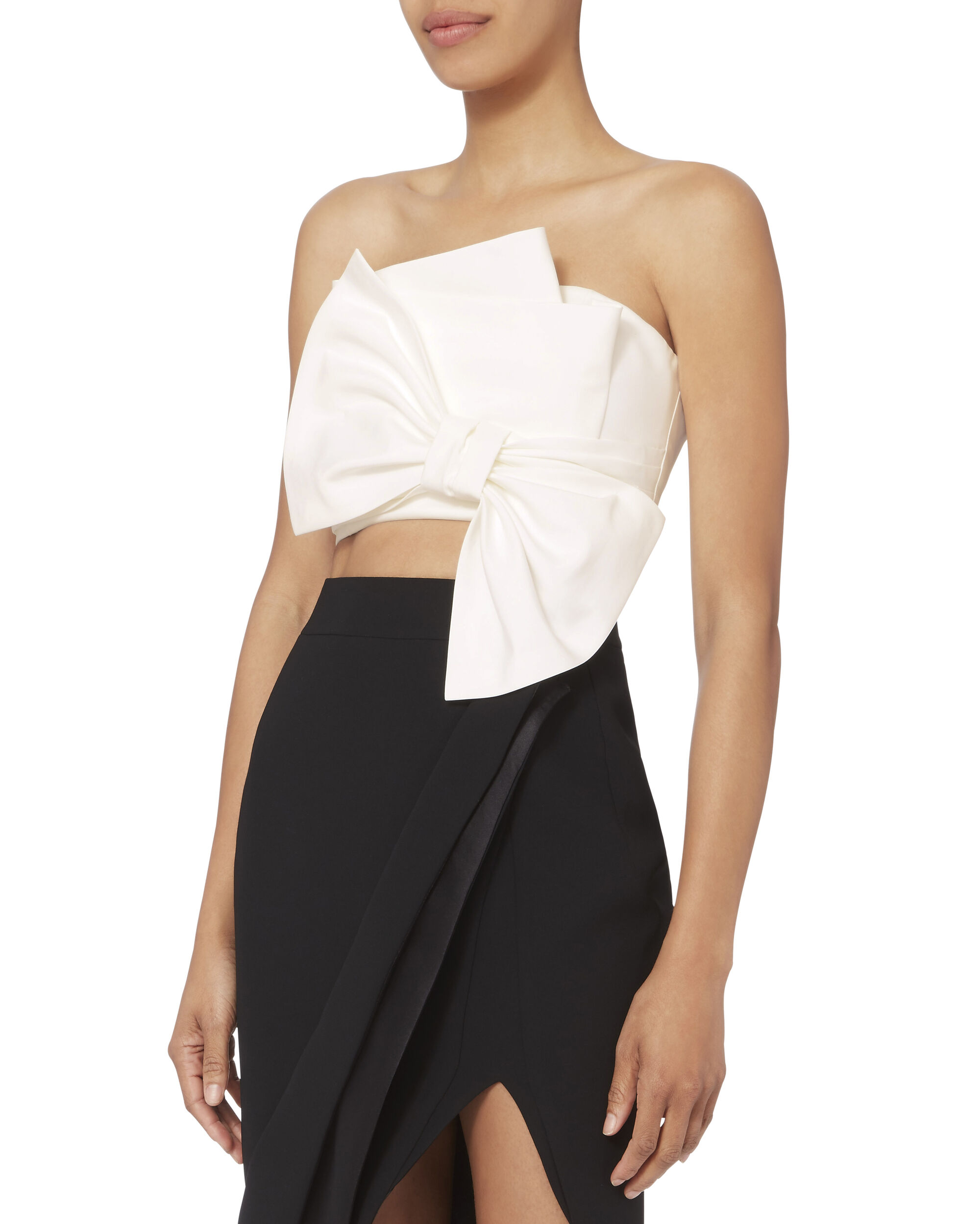 Bow Bustier Poplin Top, WHITE, hi-res