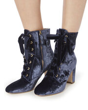 Ally Lace-Up Velvet Booties, BLUE-DRK, hi-res